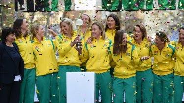 Australia celebrate their 2015 home World Cup success.