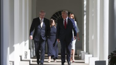 Scott and Jenny Morrison with Donald and Melania Trump in the White House corridors of power.