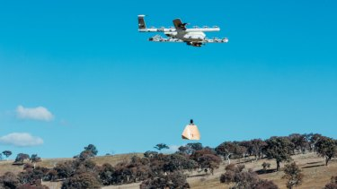 Project Wing drones being tested at Fernleigh Park.