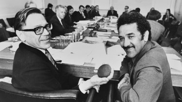 Barrie Dexter (left), then secretary of the Department of Aboriginal Affairs, in 1974 with Aboriginal activist Charles Perkins.