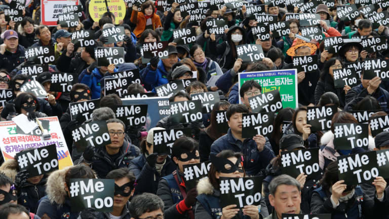 Demonstrators supporting the #MeToo movement stage a rally to mark the International Women's Day in Seoul, South Korea.