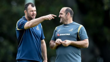 Mates: Michael Cheika and Mario Ledesma at Wallabies training in August, 2015.