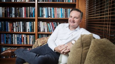 Shadow Treasurer Chris Bowen sits in his office in his Smithfield home in Sydney.