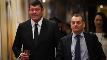 James Packer (left) and Crown executive chairman John Alexander.