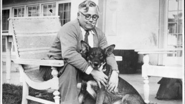 Vladimir Petrov and his dog Jock in 1954.