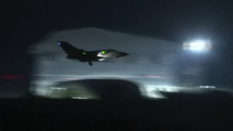 A fighter jet that took part in the attack against Syria.