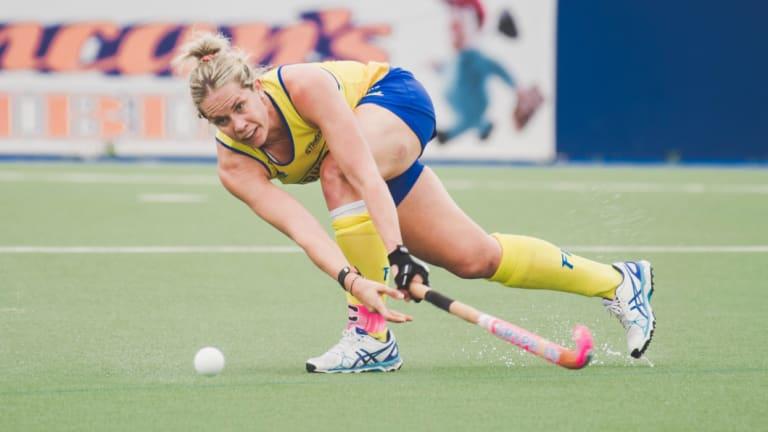 Canberra Strikers skipper Edwina Bone shoots against Queensland on Sunday,