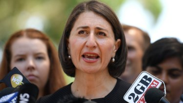 NSW Premier Gladys Berejiklian addresses media following a visit to Heathcote High School.