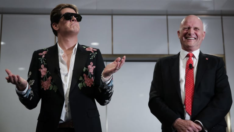 Milo Yiannopoulos is hosted by Senator David Leyonhjelm during an event at Parliament House.