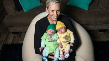 Family first: Renae Ingles with twins  Jacob (left) and Milla in 2016.