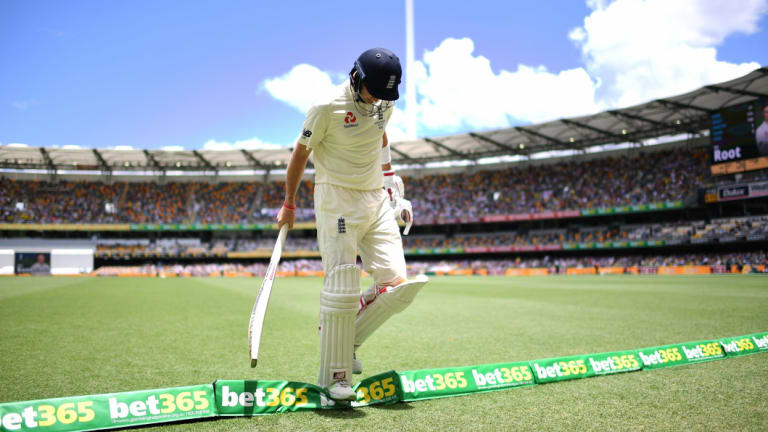 A dismissed England captain Joe Root leaving the Gabba field during the first Ashes Test in 2017.