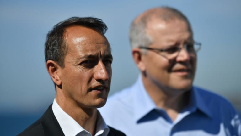Will he run again? The Liberals' defeated candidate in the Wentworth byelection, Dave Sharma, with Prime Minister Scott Morrison.