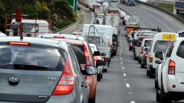 Heavy delays stretched back about five kilometres at the height of the congestion.