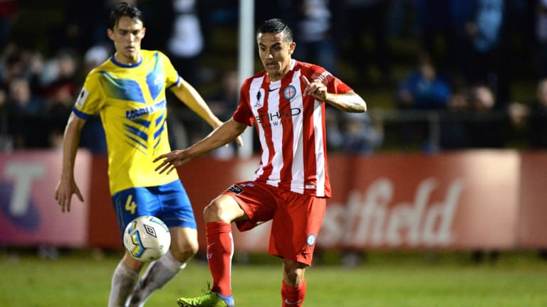 Perry Park was a sell-out for Tim Cahill's senior Australian club debut against the Strikers in the 2016 FFA Cup.
