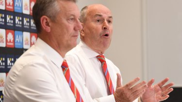 Chairman Tony Cochrane (right) and chief executive Mark Evans fronted the AFL Commission on Tuesday.