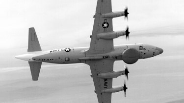A US navy EP-3E surveillance plane similar to the one that collided with a Chinese fighter jet on April 1, 2001.