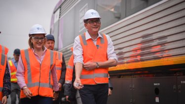 Premier Daniel Andrews and Public Transport Jacinta Allan at the Bombardier train factory in Dandenong.