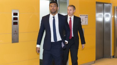Kurtley Beale arrives at his code of conduct hearing on October 24, 2014.