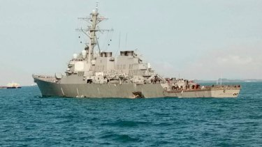 The guided-missile destroyer USS John S McCain.