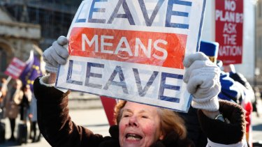A pro-Brexit protester demonstrates outside the Houses of Parliament in London.  The British people felt they gave away too much sovereignty.