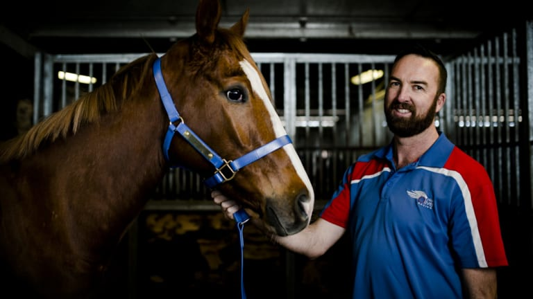 Canberra trainer Nick Olive with his former champion mare Single Gaze.