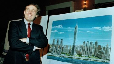 Donald Trump with a model of his ill-fated Television City project in 1985.