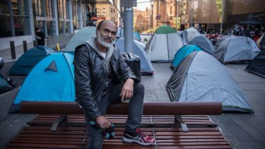 Homeless man Lanz Priestly in the Martin Place encampment.