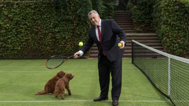 Australia's ambassador to Washington, Joe Hockey, on the tennis court at his residence in Washington.