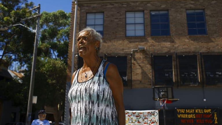 Jenny Munro at the tent embassy in Redfern. She fears plans for Aboriginal housing will never eventuate at The Block.
