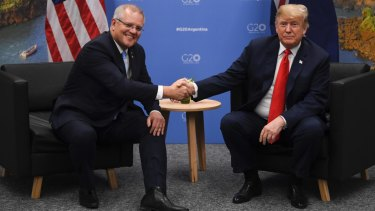 Scott Morrison (left) shakes hands during a meeting with President Donald Trump during the G20 summit in Buenos Aires in November 2018.