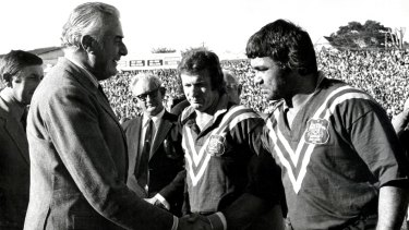 Pioneer: Arthur Beetson (right) meets Prime Minister Gough Whitlam prior to a Test for Australia in 1968.