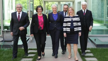 Kerryn Phelps joins crossbench MPs Andrew Wilkie, Cathy McGowan, Adam Bandt, Rebekha Sharkie and Bob Katter at Parliament on Thursday.