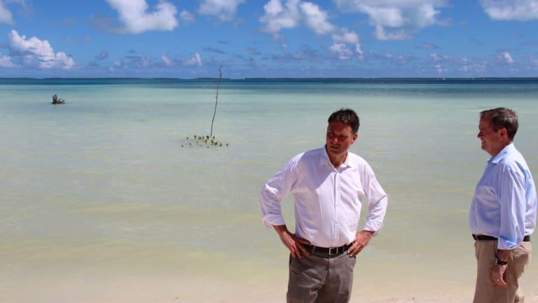 Bill Shorten and Richard Marles in Kiribati in 2015.