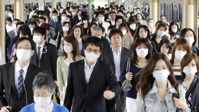 Face masks were everywhere in Asia during the 2009 swine flu outbreak.