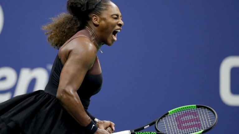 Serena Williams reacts after a point against Naomi Osaka, of Japan, in the women's final of the US Open.