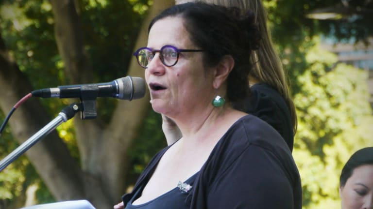 Jenna Price speaking at the International Women's Day march in 2016.
