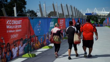 """Pedestrians using the Albert """"Tibby"""" Cotter Bridge over Anzac Parade during the Cricket World Cup in 2015."""