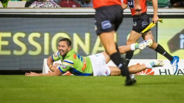 'Leipana' moment: Jordan Rapana scores out wide for the Raiders.