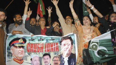 Pakistani protesters shout anti-Indian slogans in Hyderabad, Pakistan, on Tuesday.