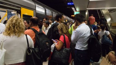 Town Hall train station suffers from crowding at peak hour.