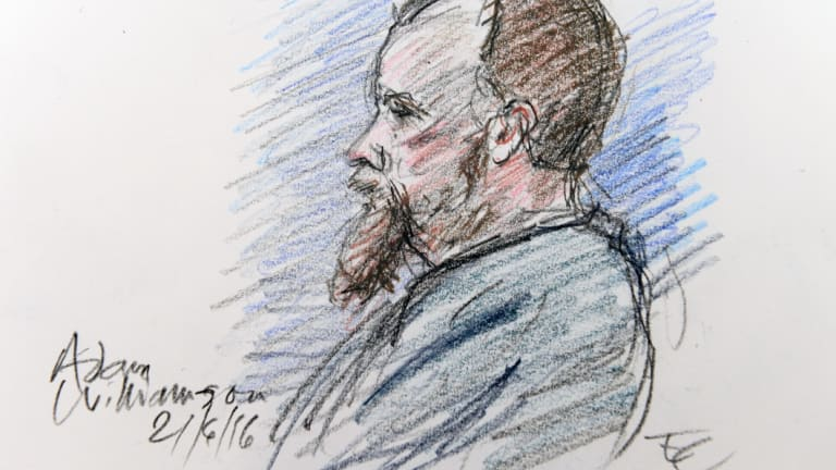 Adam Williamson,has been jailed for 27 years.  <i>Sketch by Edward Coleridge</i>