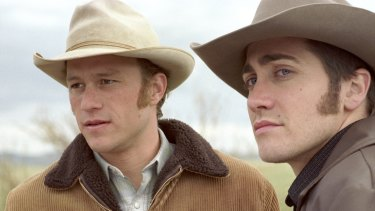 Jake Gyllenhaal and Heath Ledger in a scene from Brokeback Mountain.