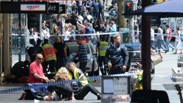 The chaos on Bourke Street on Friday, January 20, 2017.