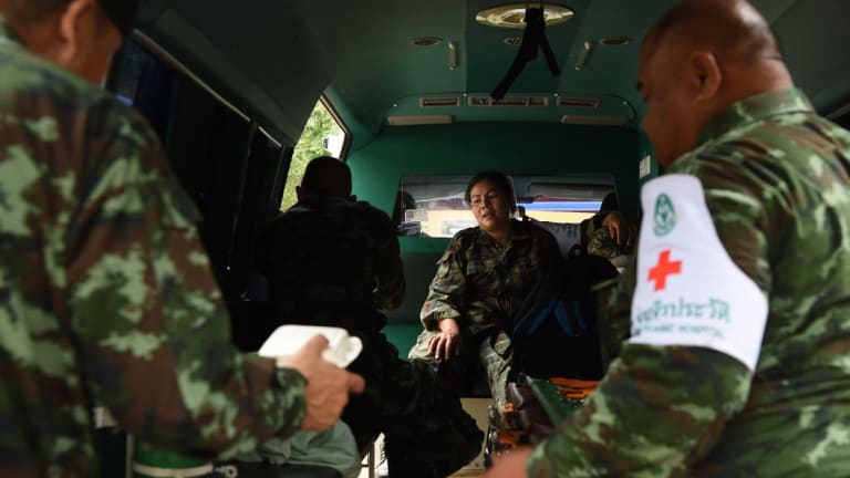 Thai army medics on standby for the rescue efforts.