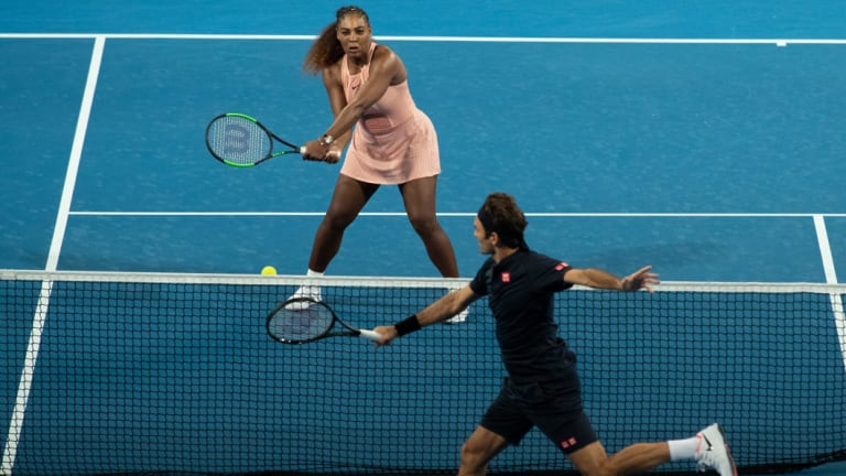 Across the net: Serena Williams and Roger Federer.