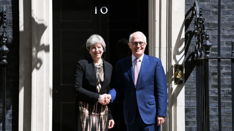 Malcolm Turnbull with British PM Theresa May outside Number 10 Downing Street in London last year.