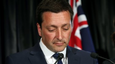 Victorian Liberal leader Matthew Guy announces his defeat on Saturday.