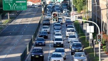Heavy traffic during the morning peak at Kogarah.
