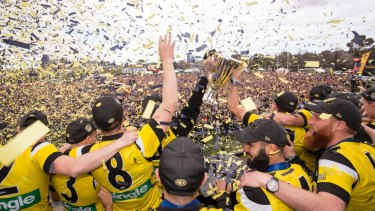 The premiership cup raised at Punt Road Oval in 2017.