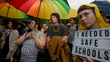 Protesters defending the controversial Safe Schools program in Melbourne.